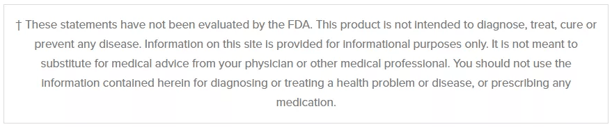Footer FDA Disclaimer